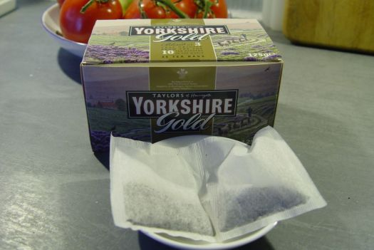 A perforated pair of tea bags.