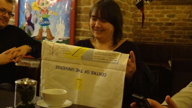 Elaine admires the winner's prize for 'Thing of the Year'