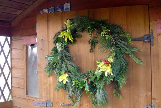 Then it's down to the Allotment, where Sarah has decorated her shed door.