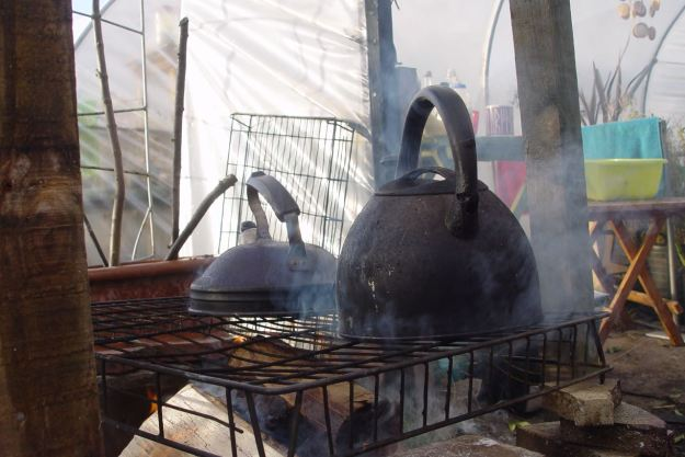 The kettles are on, washing dishes as we go as lunch approaches.