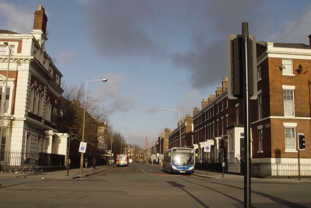 Catharine Street in intense winter sunlight.
