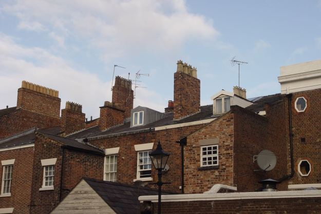 On the left, in the roof, upstairs at 36 Falkner Street.