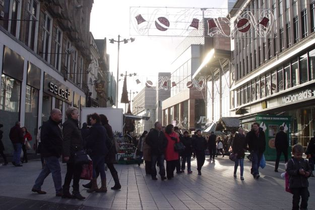 Looking into Liverpool One.