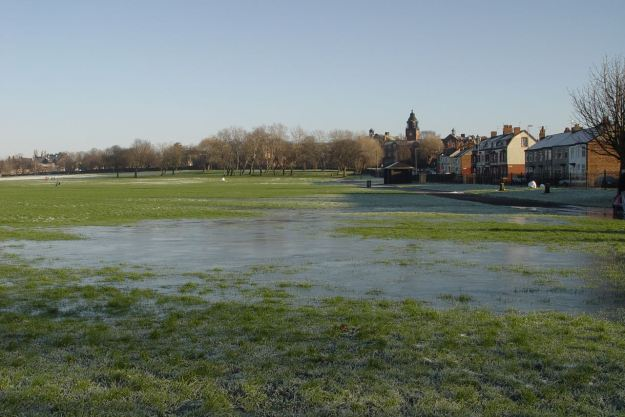 Here the waterlogged field has iced over.