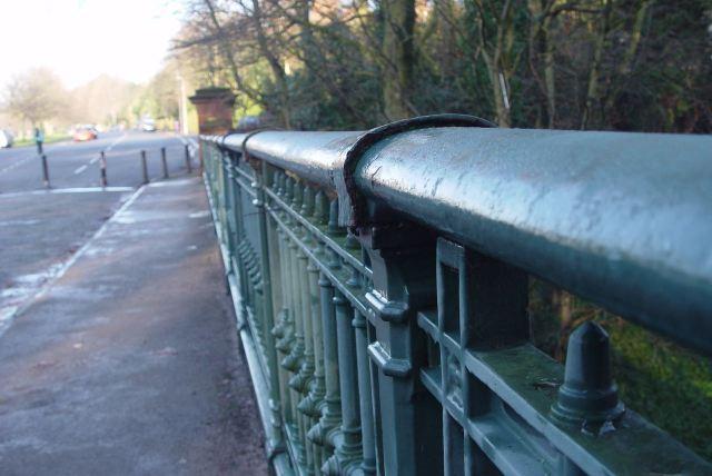 Across the bridge.