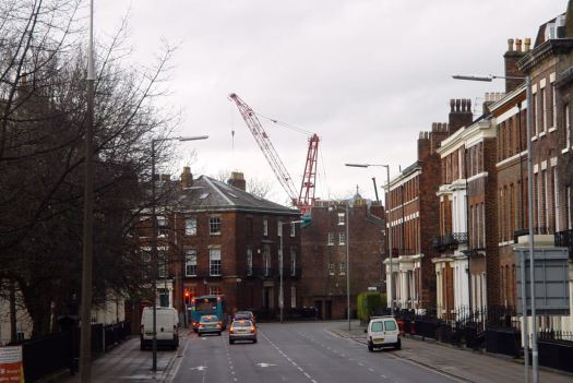Through Canning, that dominant crane we saw yesterday from the opposite direction.