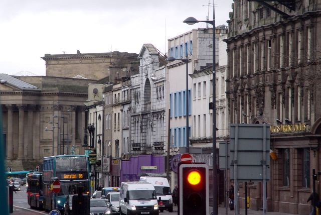The threatened façade of the Futurist. With St George's Hall in the background.