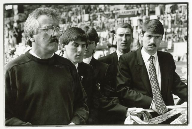 Peter Beardsley second from left here, stunned.