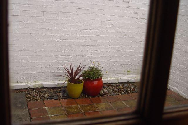 The rain keeps falling in the yard.
