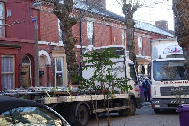 Some scaffolding being taken away.