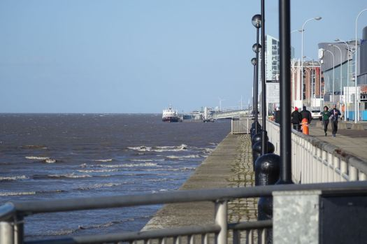 Reaching the Mersey, along from the Ferry, the Arena and the Conference Centre.