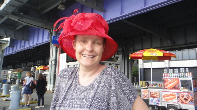 Rach in NYC, June 2011, wearing 'my' hat, bought together in Greenwich Village.