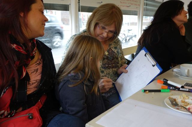 Four year old Eliza, helped by regular blog contributor Cathy, chips in her own ideas.