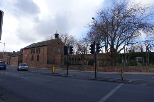 Around into Park Road. The Ancient Chapel of Toxteth over there.