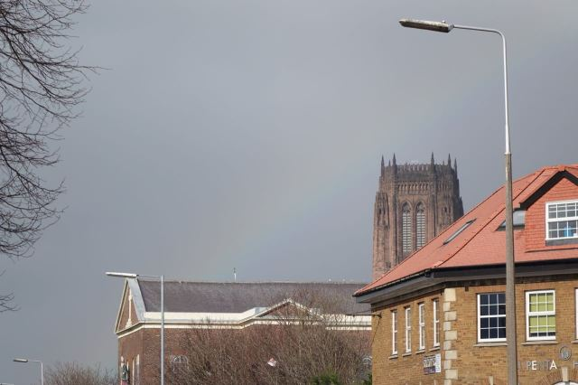 Just the hint of an apologetic rainbow over the Cathedral.