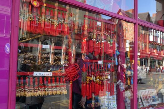 The shops are full of colour.