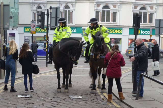 Police on horses down at the bottom of Bold Street.