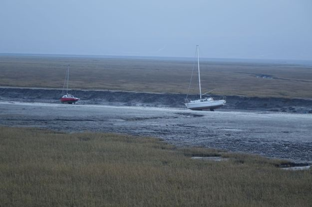 Tide well out, boats marooned.