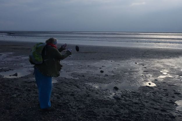 Throwing pebbles to listed to the 'pwut' of them landing in the mud.