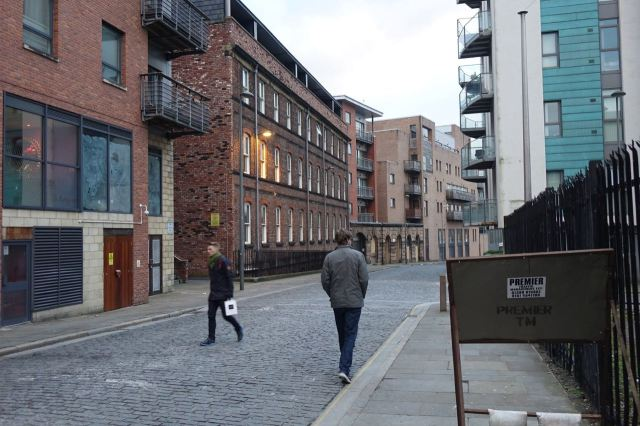 To a strange mixture of old and new apartments.