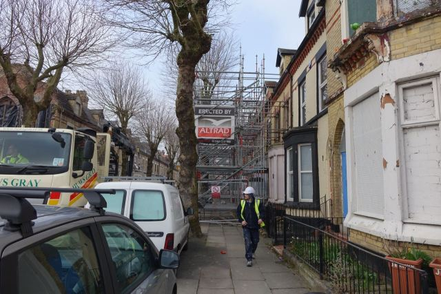 Hence this side of the street full of scaffolding.
