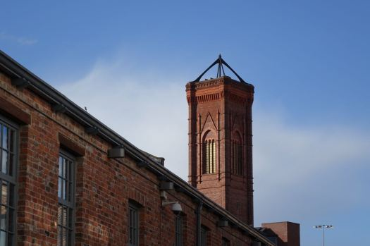 With chimneys like churches.