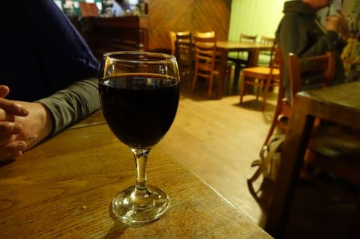 Where a glass of wine is waiting for me at Keith's in Liverpool.