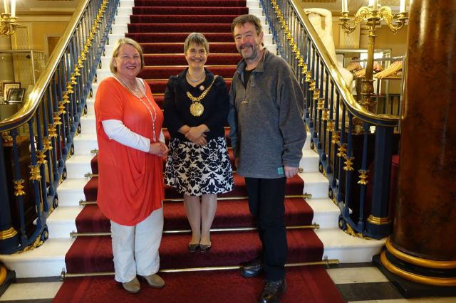 Three proud citizens of Liverpool. Sarah Horton, Erica Kemp, Lord Mayor and Ronnie Hughes.