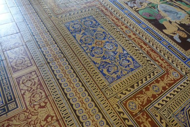 Made of encaustic tiles, like in St George's Hall.