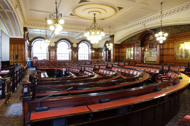 Next we go downstairs to the Council Chamber.