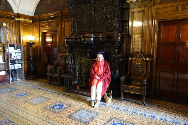 And Sarah has a sit in William Rathbone's grand old fireplace.