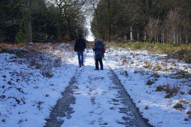 We walk on through the snow.