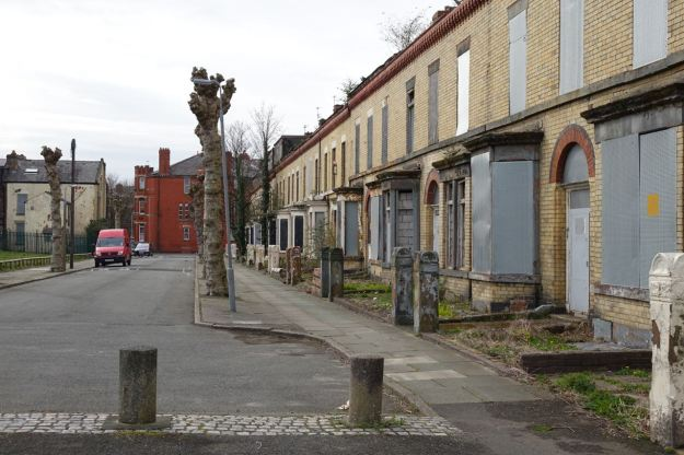 Ducie Street, with its lovely yellow brick houses down just one side of the road.