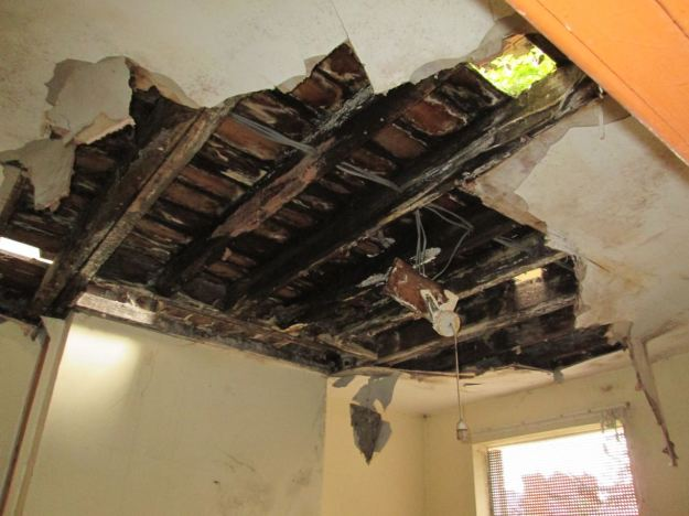Ceilings were down and floors collapsed.