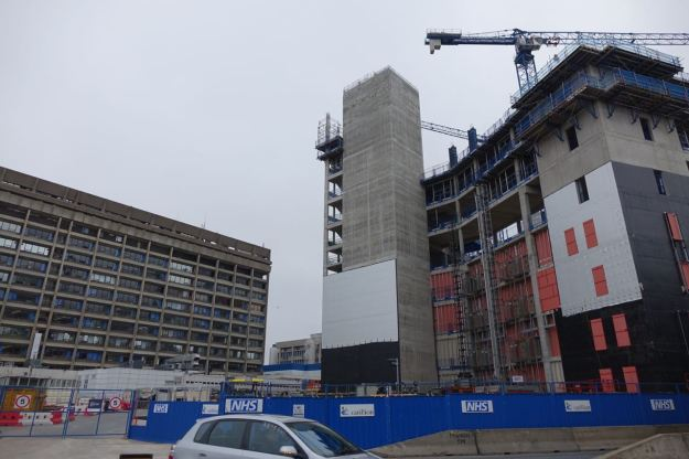 The new Royal Hospital being built next to the current 1970s building.