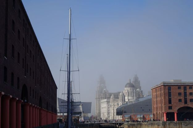 It's misty at the top of the Liver Buildings.