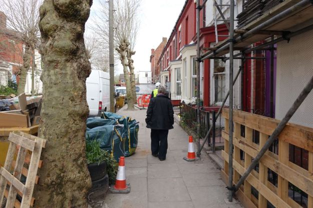 So we head over to the side of Cairns Street being renovated by Liverpool Mutual Homes.