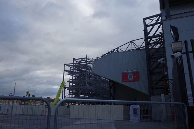 In the shadow of the expanding LFC stadium.