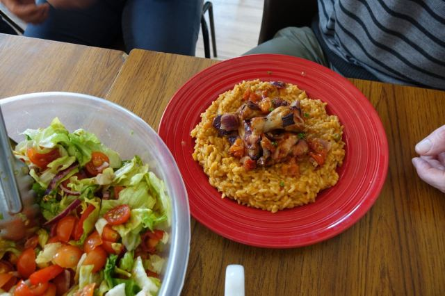 Chicken, rice and salad.