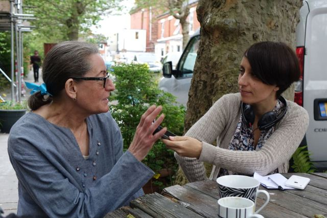 Granby resident Hazel Tilley being interviewd about the Street of the Year nomination by Jessica Robbins of BBC Radio Merseyside.