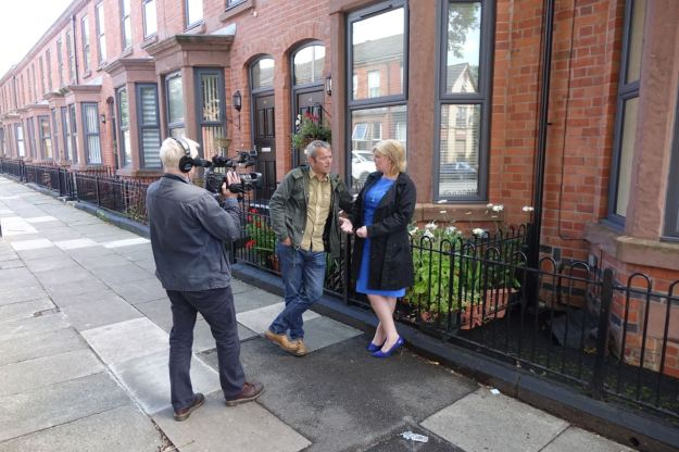 Someone else who's been very good for us is Ann O'Byrne, now the Deputy Mayor. Here being interviewed in Beaconsfield Street for the BBC film.