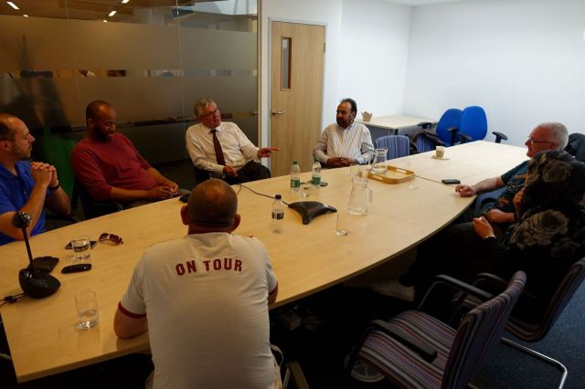 Next it's back to the HCT Group head office in Curtain Road to swop ideas and opiniond with Chief Executuve Dai Powell.
