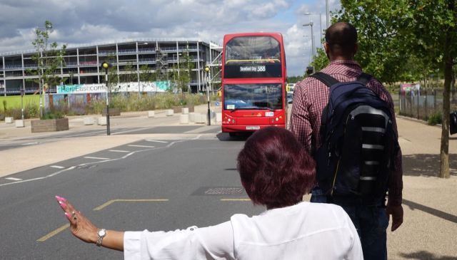 An HCT red bus back to the tube.