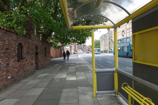 Off the bus in Catharine Street.