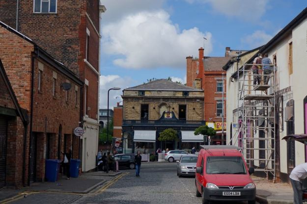 Along Pilgrim Street, that used to be O'Connor's pub there on the right. A 1970s favourite.