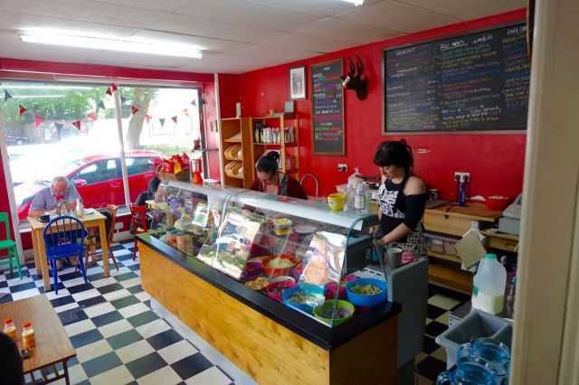 And here is Kerry behind the counter, on the left getting my Halloumi Wrap ready.