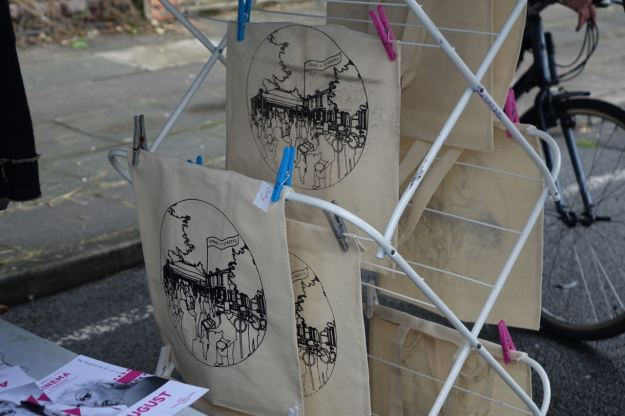 Hannah our screen printer is back making her highly prized 4 Streets bags.