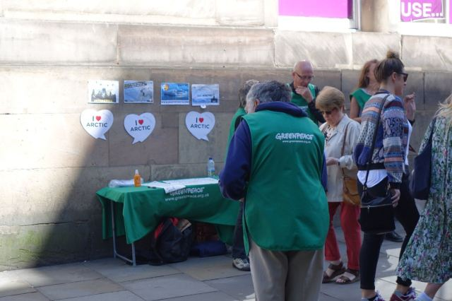 Still in Bold Street, Greenpeace speaking up for the Arctic.