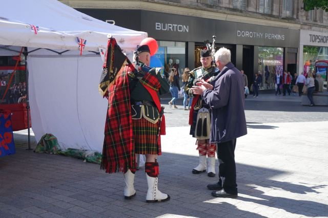 And on Church Street, the British Legion speaking up for bagpipes.