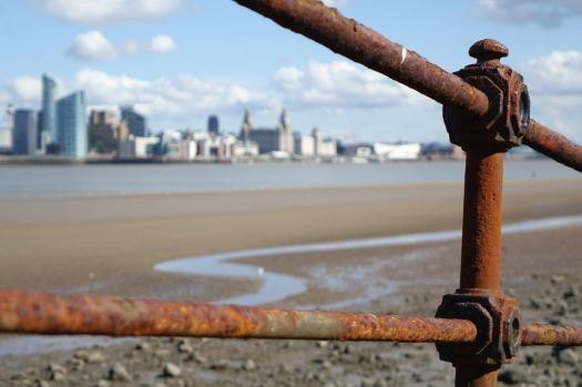 Rustic railings at Egremont, where the ferries once came.